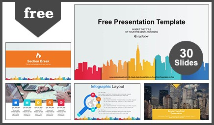 City buildings silhouettes colors Google Slides & PowerPoint Presentation