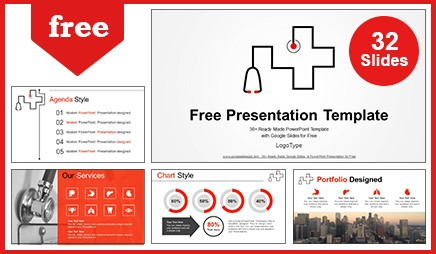 Stethoscope symbol medical Google Slides & PowerPoint Presentation