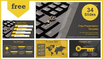 Gold Key on Keyboard Google Slides-PowerPoint Presentation