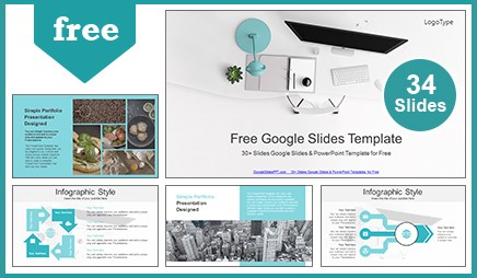 Top View of Office Supplies Google Slides Theme & PowerPoint Template