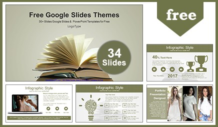 Composition with vintage old books Google Slides & PowerPoint Template