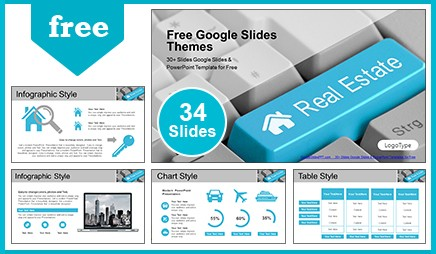 Real Estate Key on Computer Keyboard Google Slides & PowerPoint Template