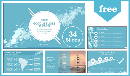 free abstract water colored splashes google slides themes